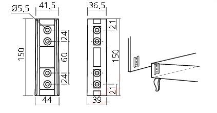 Boxspring Hoofdbord Monteren.Bedverbinder Voor Hoofdeinde 150 Mm