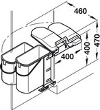 Afvalbak achter draaideur 1x10L en 1x19L grijs, kastbreedte 500 mm_