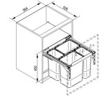 Afvalemmer uitschuifbaar, 2x9 + 2x20 liter (20kg draagvermogen)_