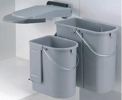 Afvalbak achter draaideur 1x10L en 1x19L grijs, kastbreedte 500 mm