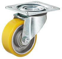 Gele zwenkwiel zonder rem, 80mm
