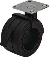 Design wiel zwart met rem 2 stuks, 68mm