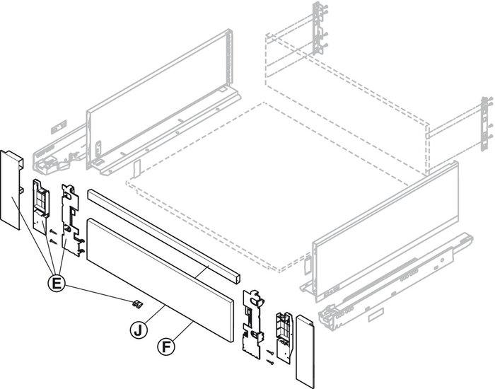 Frontset voor binnenlade Legrabox, type C