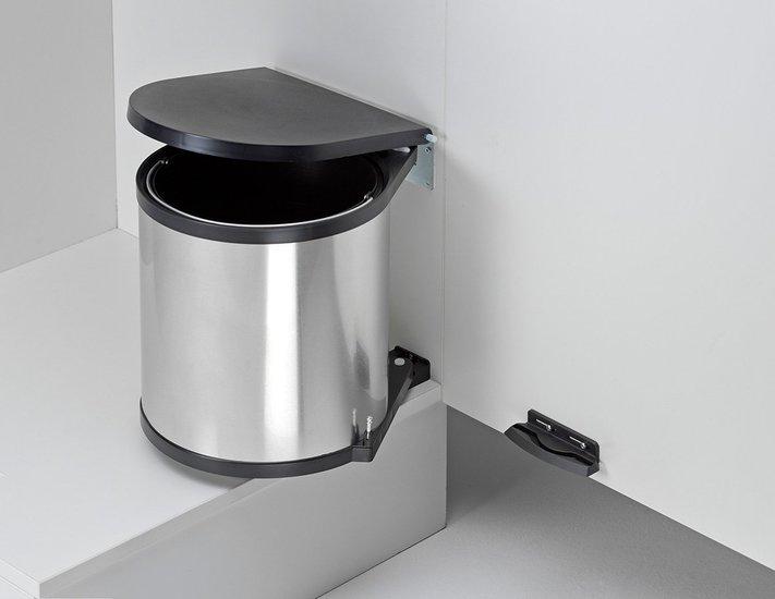 Afvalbak achter draaideur 13L zilver en zwart, kastbreedte 400 mm