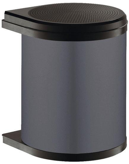 Afvalbak achter draaideur 15L Grijs en Zwart, kastbreedte 400 mm