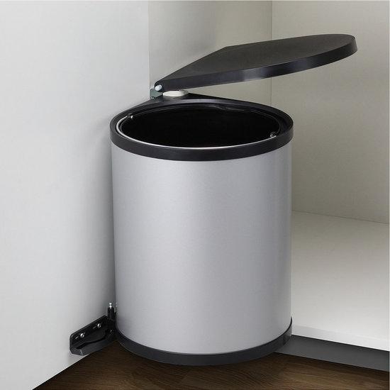 Afvalbak achter draaideur 13L Metaalkleurig, kastbreedte 400 mm