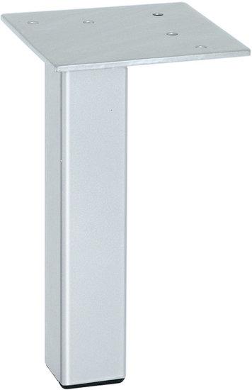 Meubelpoot wit aluminium, met plaat, 150 mm