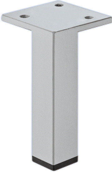 Meubelpoot aluminiumkleurig, met plaat 100 mm