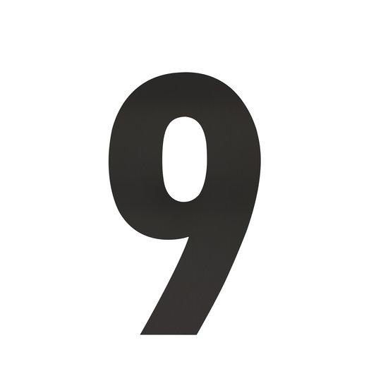 Zwart huisnummer 9, hoogte 30 cm