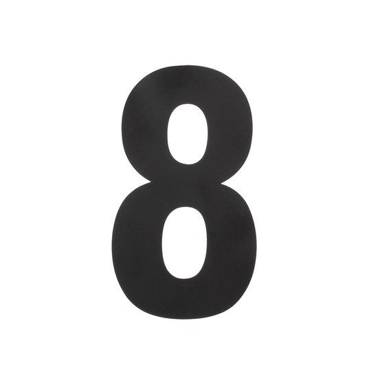 Zwart huisnummer 8, hoogte 30 cm