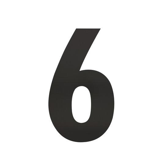 Zwart huisnummer 6, hoogte 30 cm