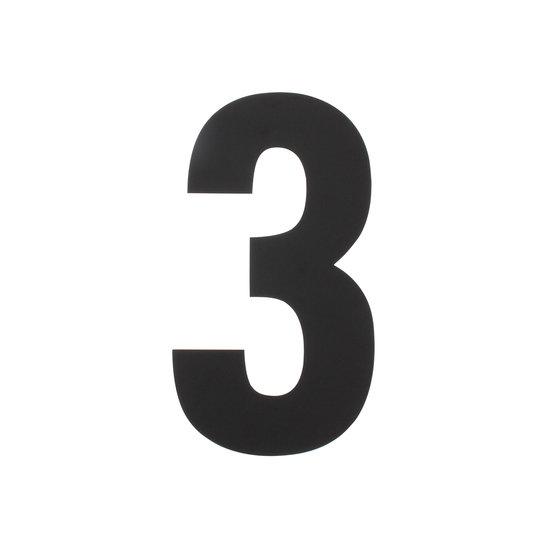 Zwart huisnummer 3, hoogte 30 cm