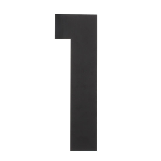 Zwart huisnummer 1, hoogte 30 cm