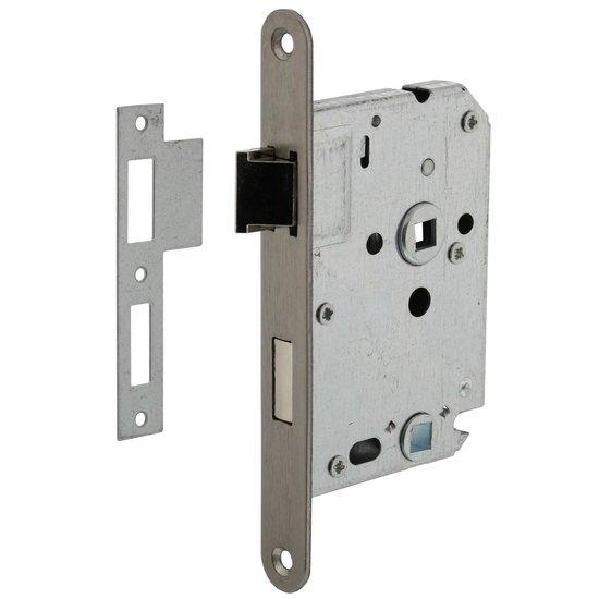 Badkamer/toiletslot 63/8 mm RVS voorplaat, inclusief sluitplaat
