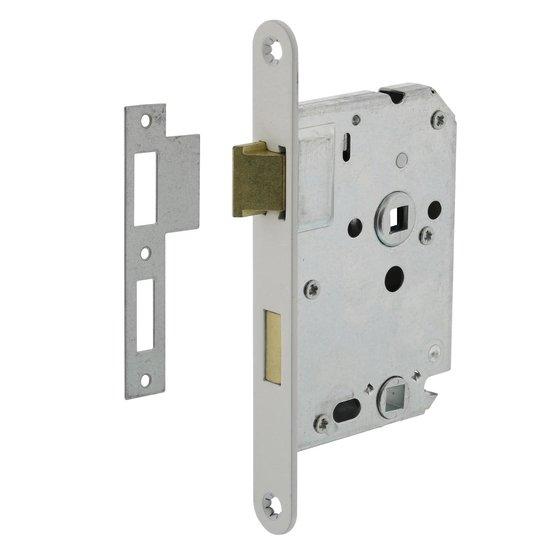 Badkamer/toiletslot 63/8 mm Witte voorplaat, inclusief sluitplaat