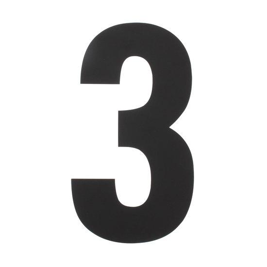 Zwart huisnummer 3, hoogte 50 cm