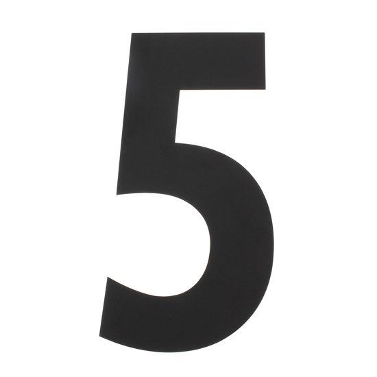 Zwart huisnummer 5, hoogte 50 cm
