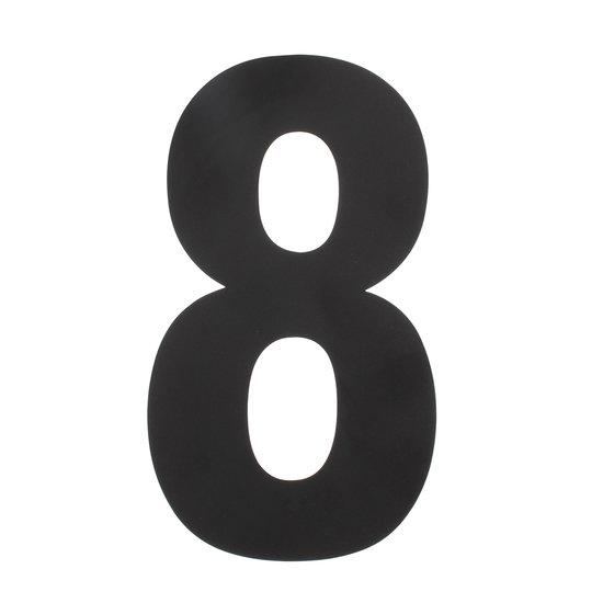 Zwart huisnummer 8, hoogte 50 cm