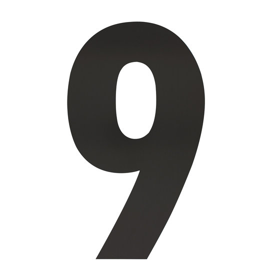 Zwart huisnummer 9, hoogte 50 cm