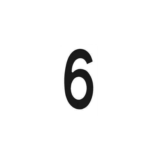 Zwart huisnummer 6, hoogte 15 cm