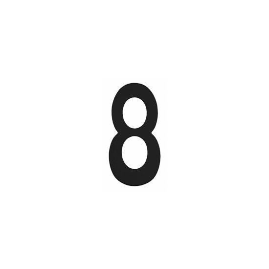 Zwart huisnummer 8, hoogte 15 cm