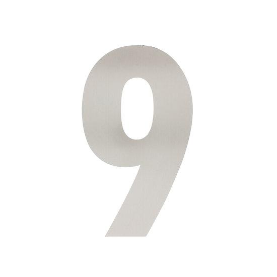 RVS huisnummer 9, hoogte 30 cm
