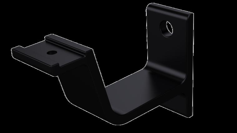Leuninghouder keilboutbevestiging, vlak profiel, mat zwart 76 mm