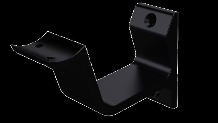 Leuninghouder hol profiel keilbout-bevestiging, zwart 76 mm