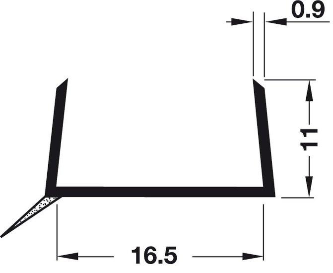 Plintprofiel voor 16 mm keukenplinten ZWART