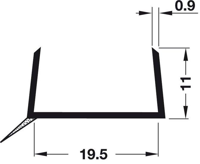 Plintprofiel voor 19 mm keukenplinten ZWART