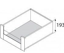 Blum legrabox binnenlade RVS, 193 mm, halfhoog glazen front