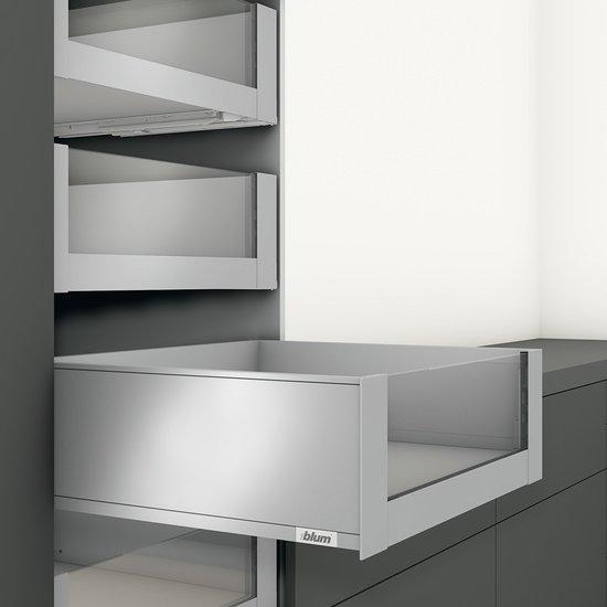Blum legrabox binnenlade RVS, 193 mm, hoog glazen front