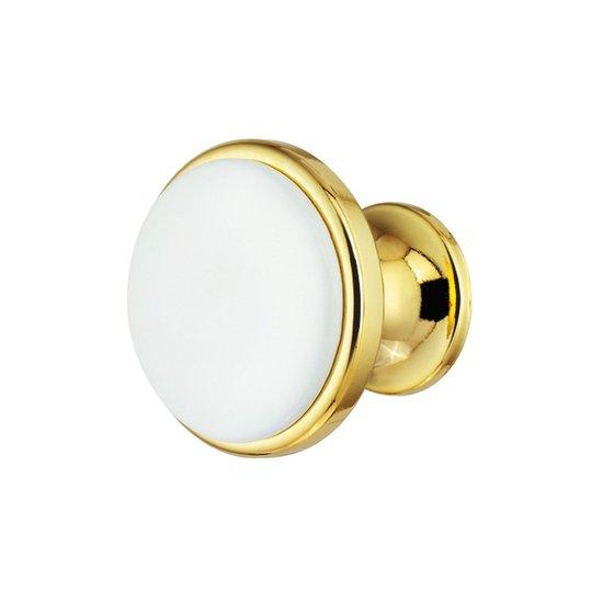 Ronde goudkleurige witte meubelknop
