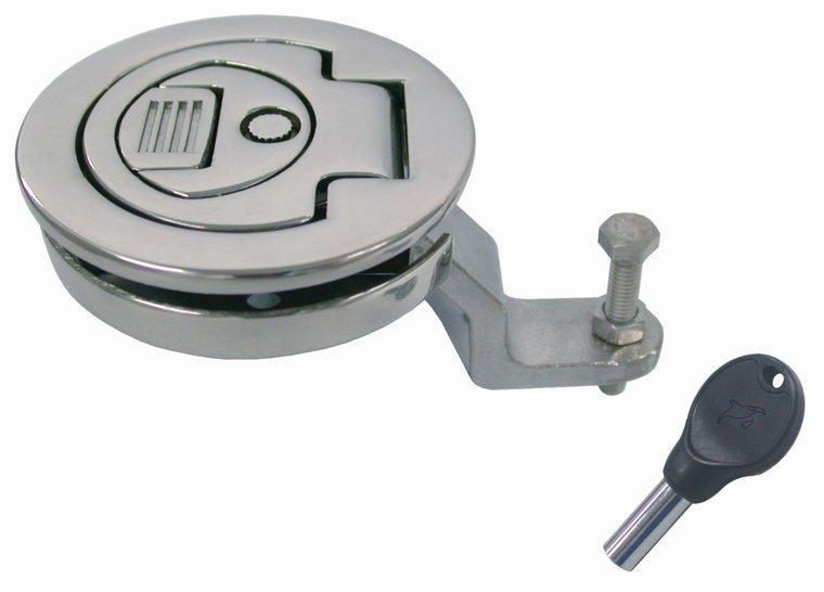 Ronde luikring met slot en sleutel, 61 mm