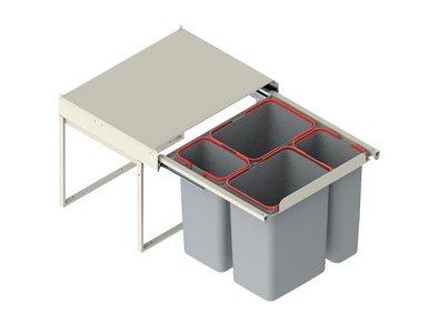 Afvalemmer uitschuifbaar, 2x9 + 2x20 liter (20kg draagvermogen)