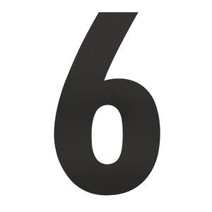 Zwart huisnummer 6 XXL